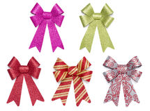 Set of Five Multicolored Glitter Bows and Ribbons Stock Image