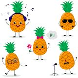 A set of five pineapples Smiley in different poses in a cartoon style. A set of five Pineapple Smiley in a cartoon style. In headphones, in sunglasses,dancing royalty free illustration