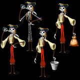 Set of five pirates skeletons with different items Stock Photography