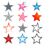 A set of five-pointed stars Stock Images