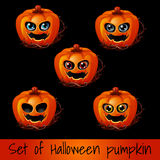 Set of five pumpkins for Halloween Royalty Free Stock Images