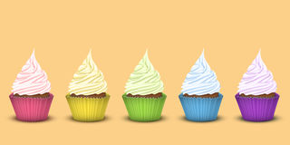 Set of five rainbow cupcakes Royalty Free Stock Images