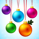 Set of five realistic and colorful Christmas balls. Set of five realistic and colorful Christmas balls hanging on a red ribbons. Vector illustration Stock Photo