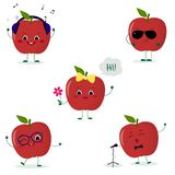 A set of five red apple Smiley in a cartoon style. In headphones, in sunglasses, dancing in glasses , with a flower. Singing into the microphone. Flat, Vector royalty free illustration
