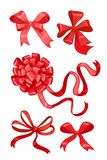 Set of five red bows Stock Image
