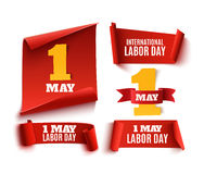 Set of five red, realistic,1 may labor day banners. Set of five red, realistic,1 may labor day paper banners. Vector illustration vector illustration