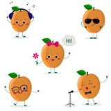 A set of five ripe apricot Smiley in a cartoon style. In headphones, in sunglasses, dancing in glasses , with a flower. Singing into the microphone. Flat royalty free illustration