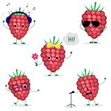 A set of five ripe raspberries berry Smiley in a cartoon style. In headphones, in sunglasses, dancing in glasses , with a flower, royalty free illustration