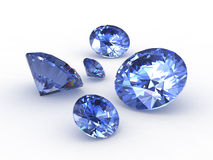 Set of five round sapphire stones Royalty Free Stock Image