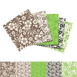 Set of five seamless floral patterns. Vector illustration. Vector set of five green and brown seamless floral patterns Royalty Free Stock Photography