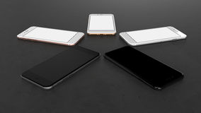 Set of five smartphones gold, rose, silver, black and black polished . Set of five smartphones gold, rose, silver, black and black polished - blank screen Royalty Free Stock Image