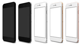Set of five smartphones gold, rose, silver, black and black polished. Blank screen and isolated on white background royalty free illustration