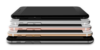 Set of five smartphones gold, rose, silver, black and black polished Stock Images