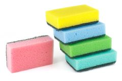 Set of five sponges to wash dishes Stock Photos
