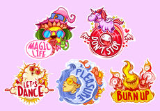 Set of five stickers for party Stock Photo