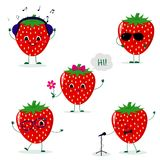A set of five Strawberry Smiley in different poses in a cartoon style. A set of five Strawberry Smiley in a cartoon style. In headphones, in sunglasses, dancing royalty free illustration