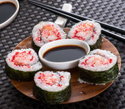 Set of five sushi rolls Royalty Free Stock Photography