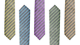 Set of five ties in different colors Royalty Free Stock Photos