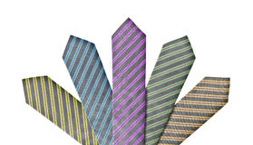 Set of five ties in different colors Royalty Free Stock Image