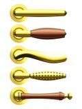 Set of five types of golden door handles Stock Images