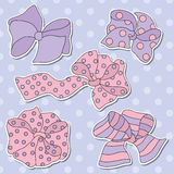 Set of Five Vector Colorful Bows Stock Photos