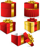 Set of five vector gift boxes Royalty Free Stock Image