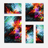 Set of five vector modern colorful rectangular abstract mosaic backgrounds. With color splash effect, for design projects, backdrops, book cover, wallpapers Royalty Free Stock Photos