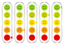 Five Vertical Barometer With Faces Showing Mood Color And Silver royalty free illustration