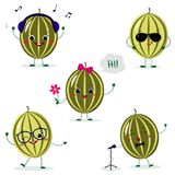 A set of five watermelon Smiley in different poses in a cartoon style. A set of five watermelon Smiley in a cartoon style. In headphones, in sunglasses, dancing vector illustration