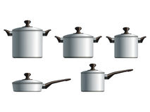 Set of five white cooking pots Royalty Free Stock Photo