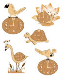 Set of five wooden clock Stock Photos