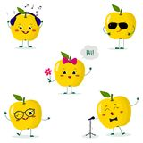 A set of five yellow apple Smiley in different poses in a cartoon style. A set of five yellow apple Smiley in a cartoon style. In headphones, in sunglasses stock illustration