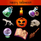 Set of fixtures for the magic Halloween. On a dark background Stock Images