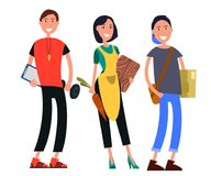 Set Fizyczny nauczyciel, gospodyni domowa i uczeń, royalty ilustracja