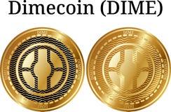 Set fizyczny złoty menniczy Dimecoin grosz ilustracji