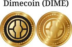 Set fizyczny złoty menniczy Dimecoin grosz royalty ilustracja