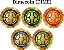 Set fizyczny złoty menniczy Dimecoin grosz ilustracja wektor
