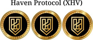 Set fizyczny złoty menniczy przystań protokół XHV ilustracji