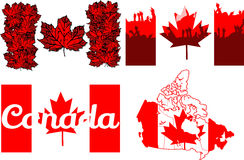 Set of Flag of Canada Stock Image