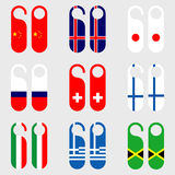Set of flag door hangers vector illustration Royalty Free Stock Photo
