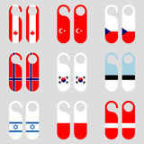 Set of flag door hangers vector illustration Royalty Free Stock Image