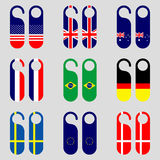 Set of flag door hangers vector illustration Stock Image