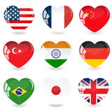 The set flag.Glass heart.Vector illustration Royalty Free Stock Images