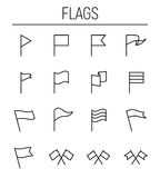 Set of flag icons in modern thin line style. High quality black outline banner symbols for web site design and mobile apps. Simple flag pictograms on a white Royalty Free Stock Photos