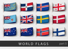 Set of flag labels of all countries. Vector set of flag labels of all countries Royalty Free Stock Photography