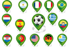 Set of flag pointers. Seto of flag pointers with soccer football motif Stock Photography