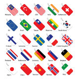 Set of 25 flag tags Royalty Free Stock Photos