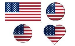 Set flaga amerykańskie w różnych kształtach z ramą Zdjęcie Royalty Free