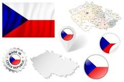 Set flaga, mapy, etc republika czech - na bielu Zdjęcia Royalty Free