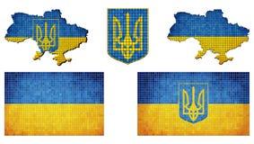 Set flaga Ukraina Zdjęcia Stock